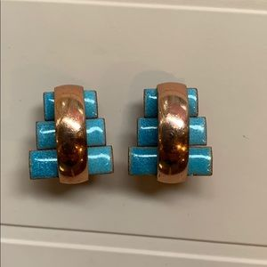 Vintage Matisse  copper and enamel earrings